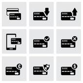 Vector black credit card icon set — Stock Vector