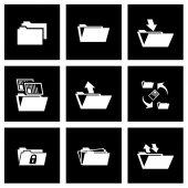 Vector black folder icon set — Stock Vector