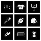 Vector black football icon set — Stock Vector