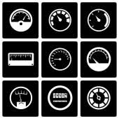 Vector black meter icon set — Stock Vector