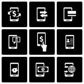 Vector black mobile banking icon set — Stock Vector