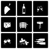 Vector zwarte wijn pictogrammenset — Stockvector