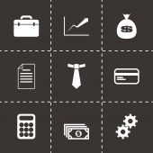 Vector black business icon set — Vetor de Stock