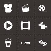 Vector black cinema icon set — Stock Vector