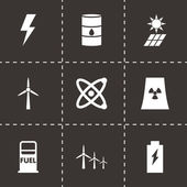 Vector black energetics icon set — Vecteur