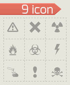 Vector black danger icon set — Stock Vector