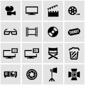 Vector black cinema icon set — Stock Vector