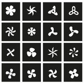 Vector black fans and propellers icon set — Stock Vector