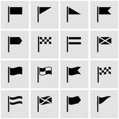 Vector zwarte vlag pictogrammenset — Stockvector