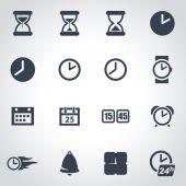 Vector black time icon set — Stock Vector