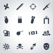 Vector black terrorism icon set — Stock Vector