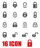 Vector grey locks icon set — Stock Vector
