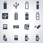 Vector black usb icon set — Stock Vector
