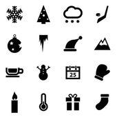 Vector black winter icons  set — Stock Vector