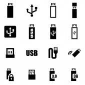 Vector zwarte usb pictogrammenset — Stockvector