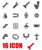 Vector grey plumbing icon set — Stock Vector