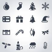 Vector black christmas icon set — Stock Vector