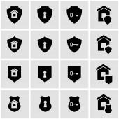 Vector black home security icon set — Stock Vector
