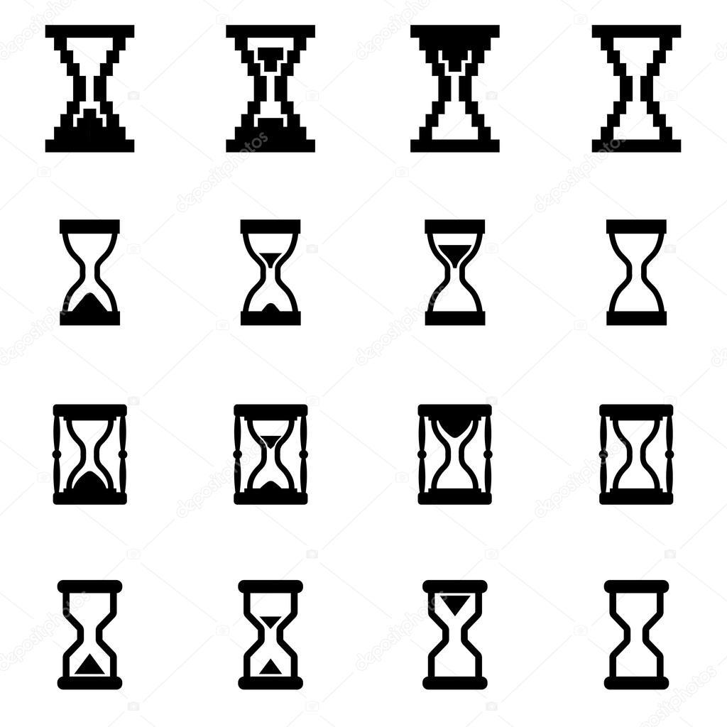Sanduhr icon  Vektor schwarz Sanduhr Icon-set — Stockvektor #83503002