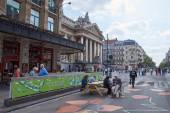 Beurs van Brussel in een auto vrije stad van Brussel — Stockfoto