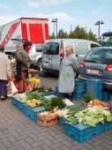 Boer verkoop van groenten van haar eigen productie op een Belgische markt. — Stockfoto