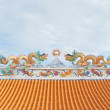 Traditional Chinese style sculpture decoration on the Thai temple roof — Stock Photo #77688730