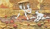 Thai stucco art on temple wall — Stock Photo