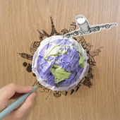 Hand drawn traveling around the world by air plane on wood backg — Stock Photo