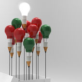 Pencil light bulb 3d as think outside of the box and merry's chr — Photo