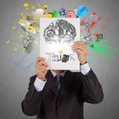 Businessman hand show book of think word and 3d metal brain as c — Stock Photo