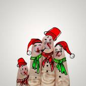 Lovely family hand drawn and finger of snowmen,as concept idea  — Stock Photo