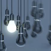 Creative idea and leadership concept with growing 3d light bulb — Stock Photo