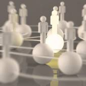3d growing light human social network and leadership — Stock Photo