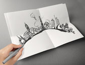Hand drawn traveling around the world on paper background as vin — Stock Photo
