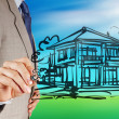 Businessman hand drawing house  — Stock Photo #62930797
