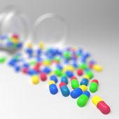 Pills 3d spilling out of pill bottle on white — Stock Photo