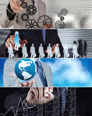 Collage of photo business strategy as concept — Stock Photo