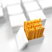 3d open box with extrude text as thinking outside the box concep — Stock Photo