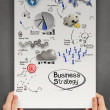 Hands hold poster with business strategy as concept — Stock Photo #64954357