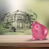 3d Piggy bank on wooden shelf with home blur background as conce — Stock Photo