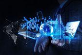 Uomo d'affari illustrato la tecnologia moderna come concetto — Foto Stock