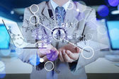 Double exposure of businessman shows modern technology as concep — Stockfoto