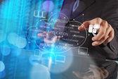 クラウド Computi と働くビジネスマン手の二重露光 — ストック写真
