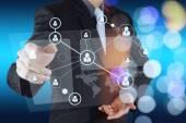 Zakenman hand menselijke pictogram stroomschema waarop nieuwe moderne com — Stockfoto