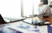 Business documents on office table with texture the world on dig — Stock Photo