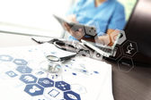 Doctor working with  laptop computer in medical workspace office — Stock Photo