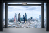 Interior space of modern empty office interior with london city — Stockfoto