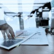 Double exposure of business documents on office table with smart — Stock Photo #80180516