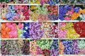 Many type of artificially flowers — Stock Photo