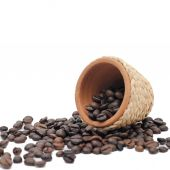 Pot with coffee seeds — Stock Photo